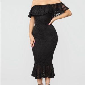Lace Off Shoulder Midi Dress